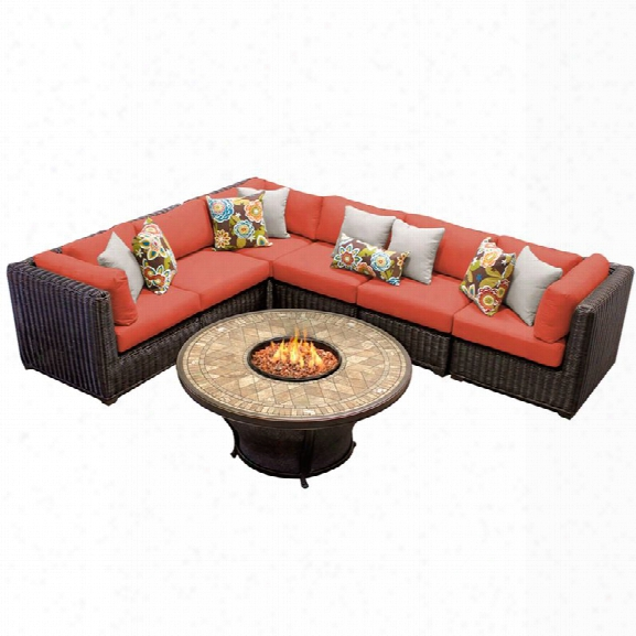 Tkc Venice 7 Piece Patio Wicker Fire Pit Sectional Set In Orange
