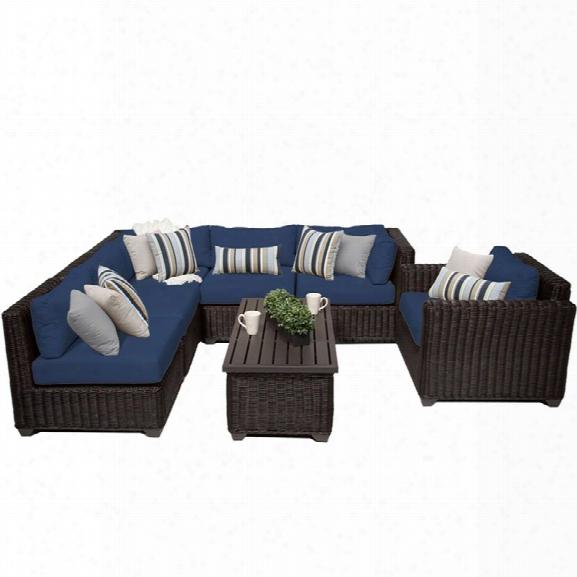 Tkc Venice 7 Piece Patio Wicker Sofa Set In Navy