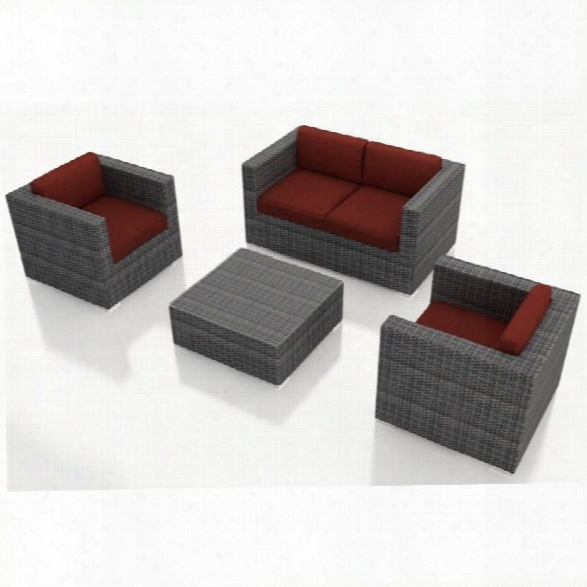 Harmonia Living District 4 Piece Patio Sofa Set In Canvas Henna