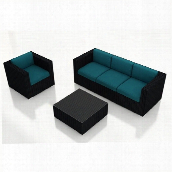 Harmonia Living Urbana 3 Piece Patio Sofa Set In Spectrum Peacock