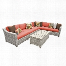 TKC Fairmont 7 Piece Patio Wicker Sectional Set in Orange
