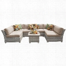 TKC Fairmont 7 Piece Patio Wicker Sectional Set in Wheat