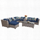 TKC Florence 10 Piece Patio Wicker Sectional Set in Navy