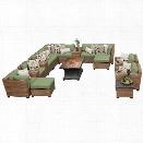 TKC Laguna 17 Piece Patio Wicker Sofa Set in Green