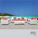 TKC Miami 6 Piece Patio Wicker Sofa Set in Orange