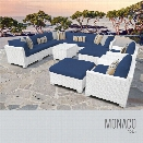 TKC Monaco 13 Piece Patio Wicker Sofa Set in Blue