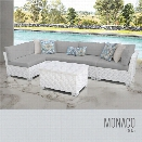 TKC Monaco 6 Piece Patio Wicker Sectional Set in Gray