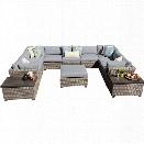 TKC Monterey 12 Piece Patio Wicker Sectional Set in Gray