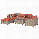 TKC Monterey 7 Piece Patio Wicker Sofa Set in Orange