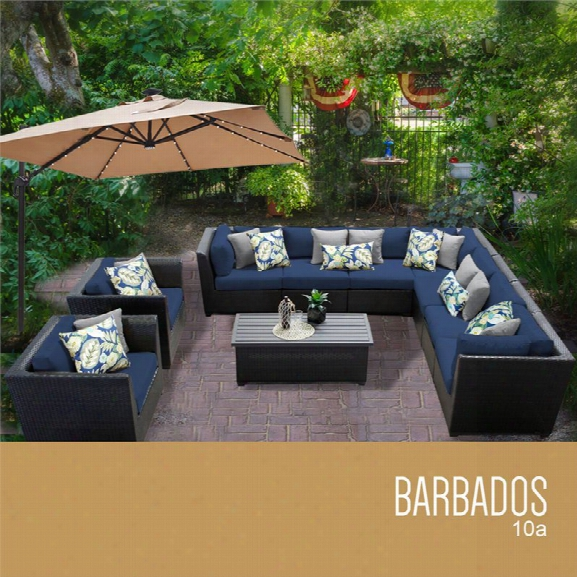 Tkc Barbados 10 Piece Patio Wicker Sofa Set In Navy