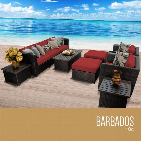 Tkc Barbados 10 Piece Patio Wicker Sofa Set In Red