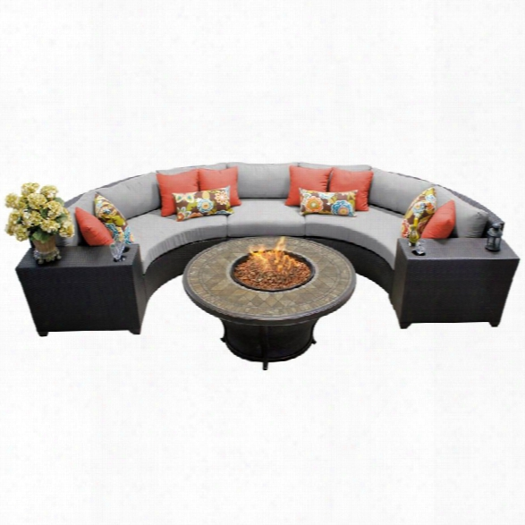 Tkc Barbados 6 Piece Patio Wicker Fire Pit Sectional Set In Gray