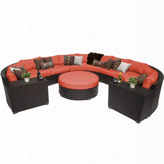 Tkc Barbados 8 Piece Patio Wicker Sectional Set In Orange
