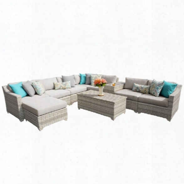 Tkc Fairmont 10 Piece Patio Wicker Sectional Set In Beige