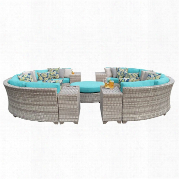 Tkc Fairmont 11 Piece Patio Wicker Sectional Set In Turquoise