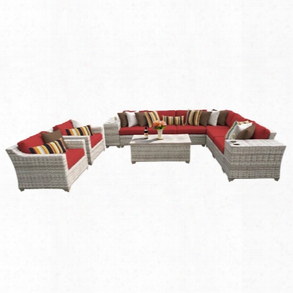 Tkc Fairmont 11 Piece Patio Wicker Sofa Set In Red