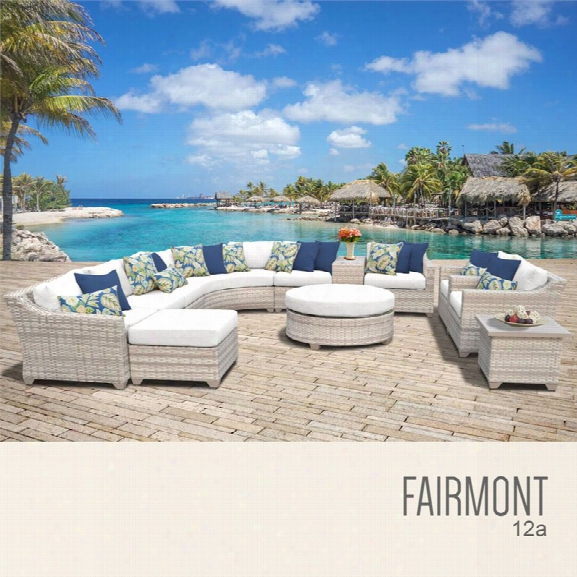 Tkc Fairmont 12 Piece Patio Wicker Sofa Set In White