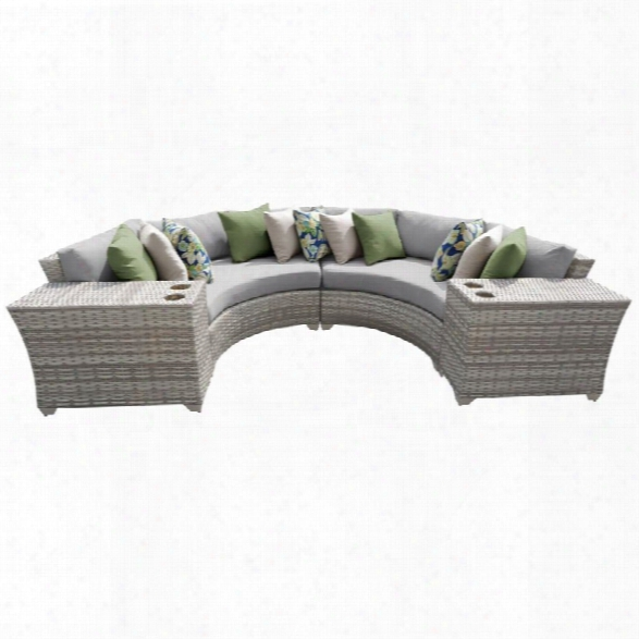 Tkc Fairmont 4 Piece  Patio Wicker Sectional Set In Gray