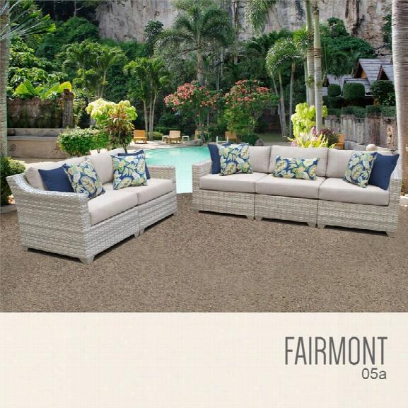 Tkc Fairmont 5 Piece Patio Wicker Sofa Set In Beige