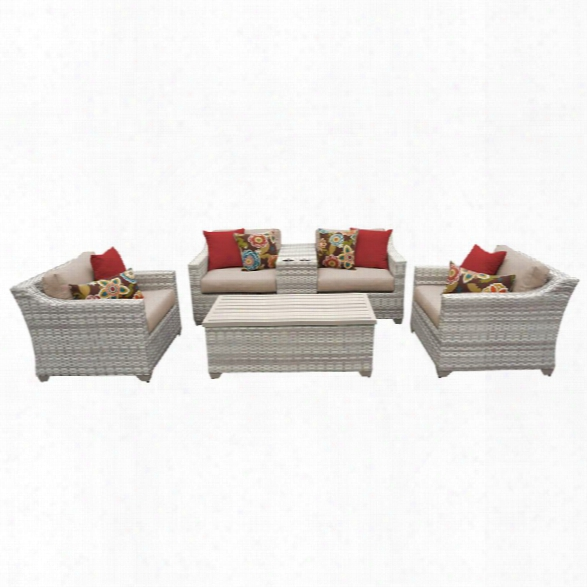 Tkc Fairmont 6 Piece Patio Wicker Sofa Set In Wheat