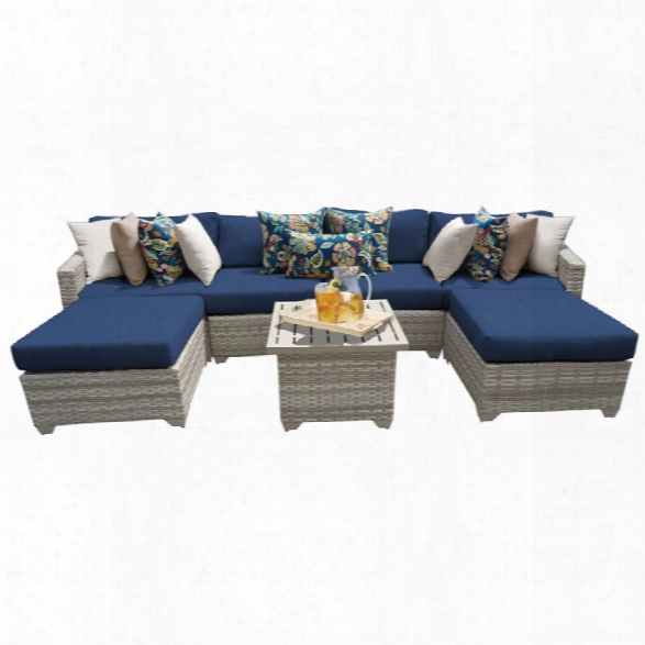 Tkc Fairmont 7 Piece Patio Wicker Sectional Set In Navy