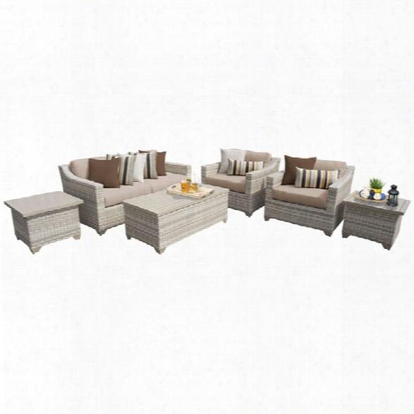 Tkc Fairmont 7 Piece Patio Wicker Sofa Set In Wheat