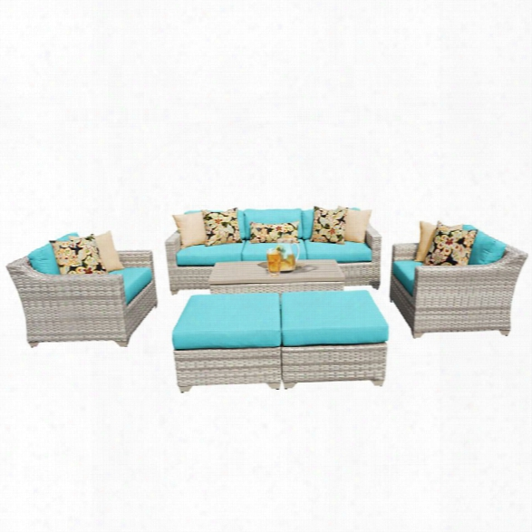Tkc Fairmont 8 Piece Patio Wicker Sofa Set In Turquoise