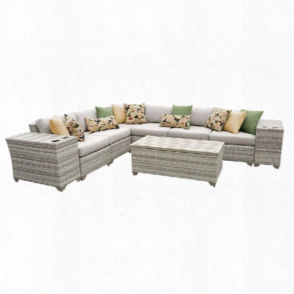 Tkc Fairmont 9 Piece Patio Wicker Sectional Set