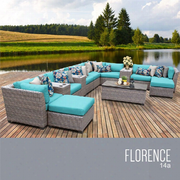 Tkc Florence 14 Piece Patio Wicker Sectional Set In Turquoise