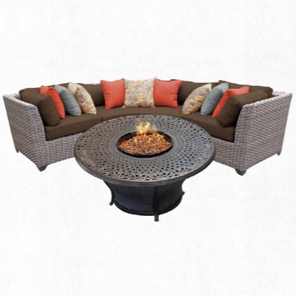Tkc Florence 4 Piece Patio Wicker Fire Pit Sectional Set In Dark Brown