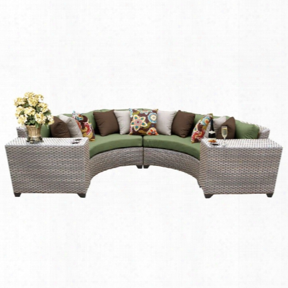 Tkc Florence 4 Piece Patio Wicker Sectional Set In Green