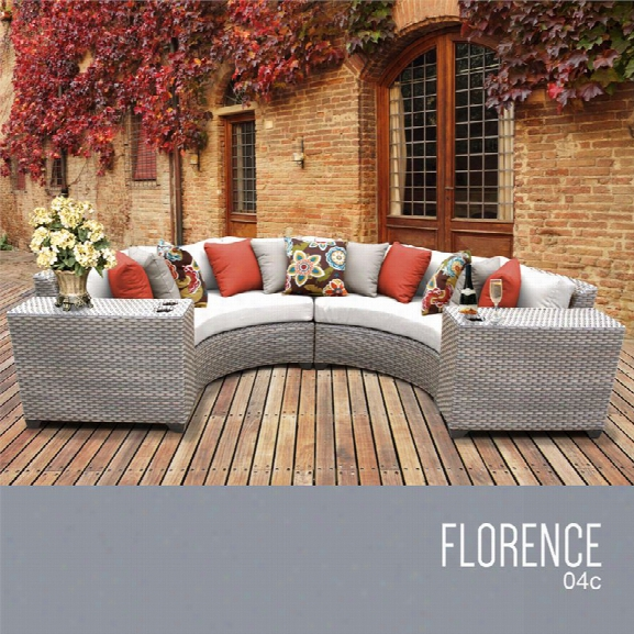 Tkc Florence 4 Piece Patio Wicker Sectional Set In White