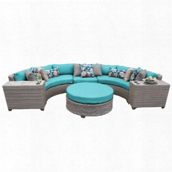 Tkc Florence 6 Piece Patio Wicker Sectional Set In Turquoise