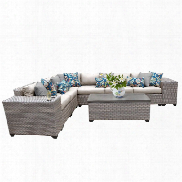 Tkc Florence 9 Piece Patio Wicker Sectional Set In Beige
