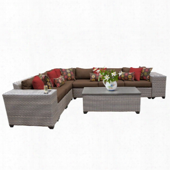 Tkc Florence 9 Piece Patio Wicker Sectional Set In Dark Brown