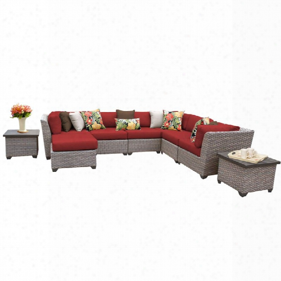 Tkc Florence 9 Piece Patio Wicker Sectional Set In Red