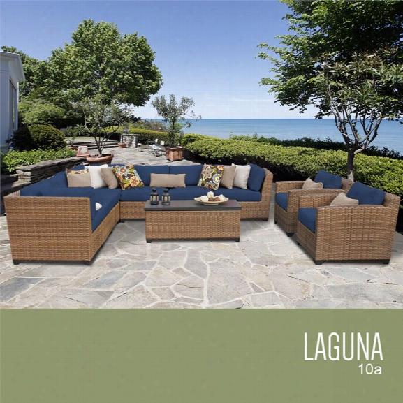 Tkc Laguna 10 Piece Patio Wicker Sofa Set In Navy