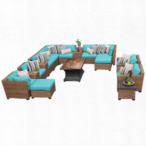 Tkc Laguna 17 Pi Ece Patio Wicker Sofa Set In Turquoise