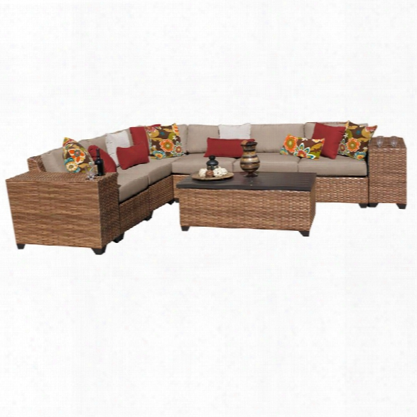 Tkc Laguna 9 Piece Patio Wicker Sectional Set