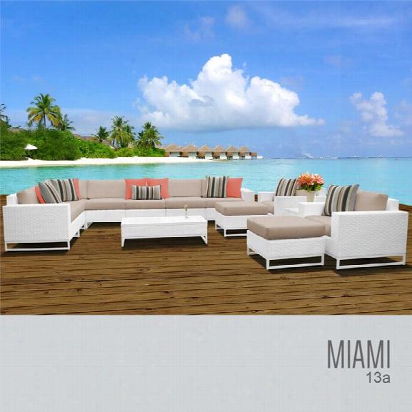 Tkc Miami 13 Piece Patio Wicker Sofa Set In Wheat