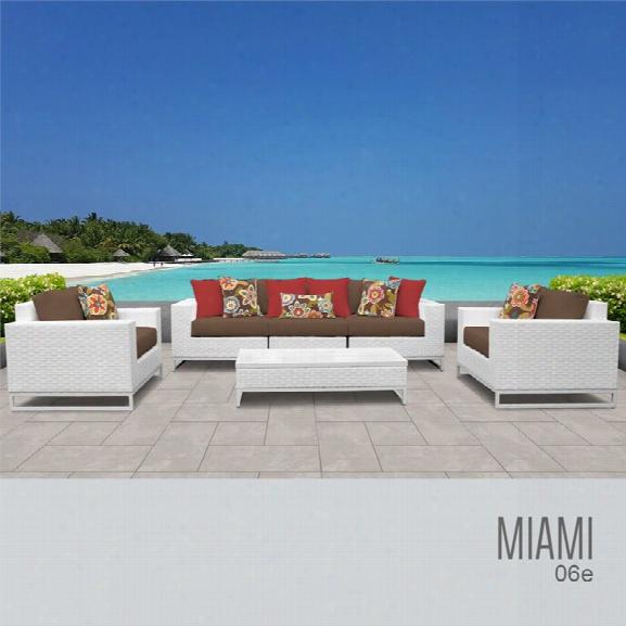 Tkc Miami 6 Piece Patio Wicker Sofa Set In Dark Brown