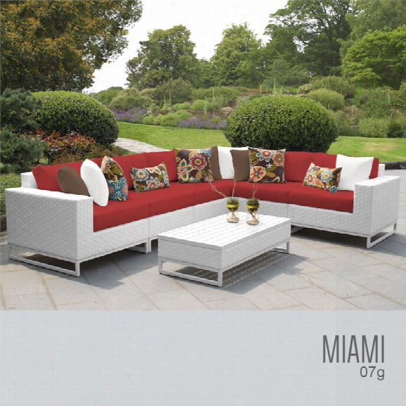Tkc Miami 7 Piece Patio Wicker Sectional Set In Red