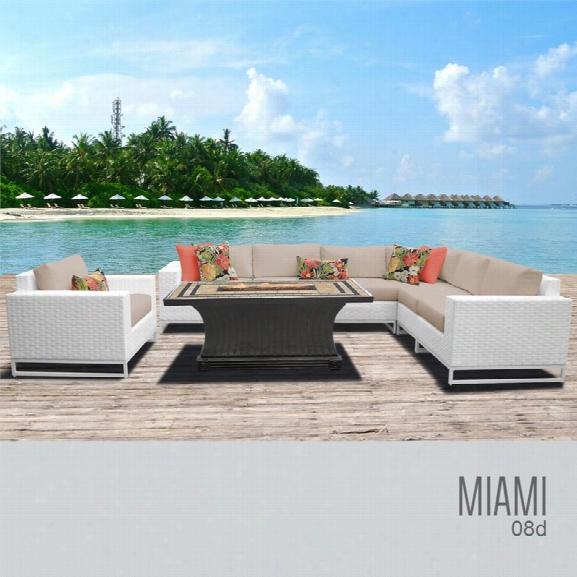 Tkc Miami 8 Piece Patio Wicker Fire Pit Sofa Set In Wheat