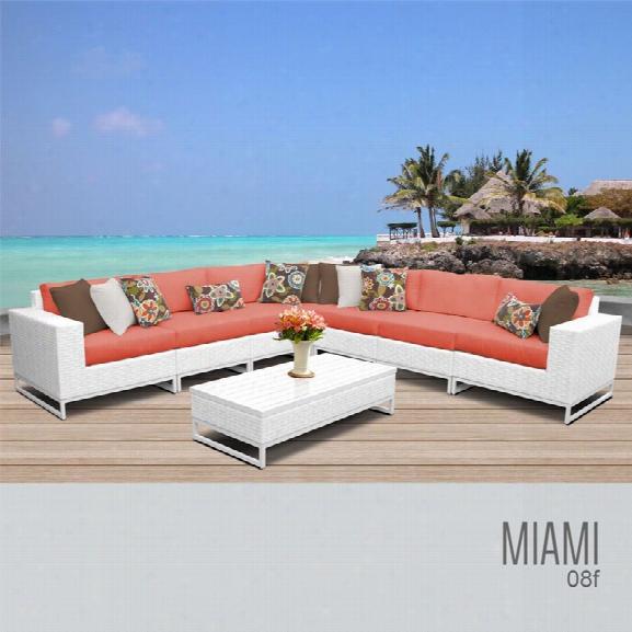 Tkc Miami 8 Piece Patio Wicker Sectional Set In Orange