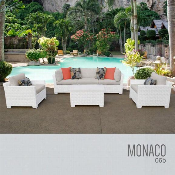 Tkc Monaco 6 Piece Patio Wicker Sofa Set In Beige