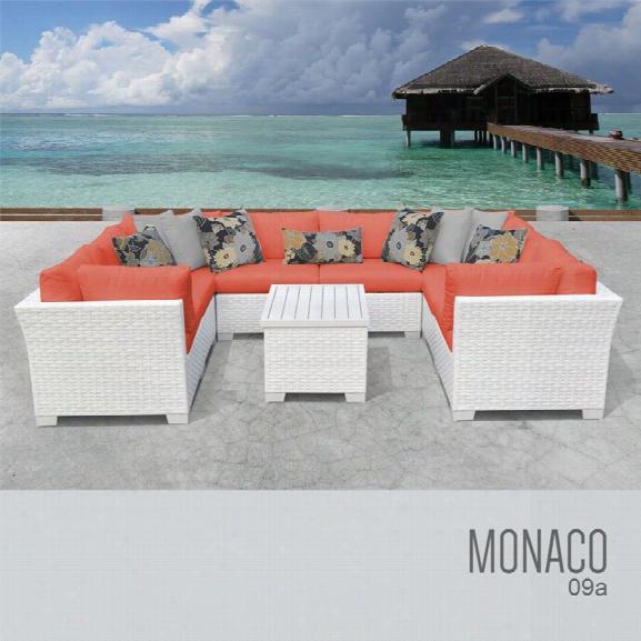 Tkc Monaco 9 Piece Patio Wicker Sectional Set In Orange