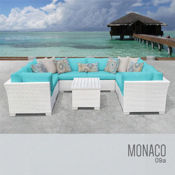 Tkc Monaco 9 Piece Patio Wicker Sectional Set In Turquoise