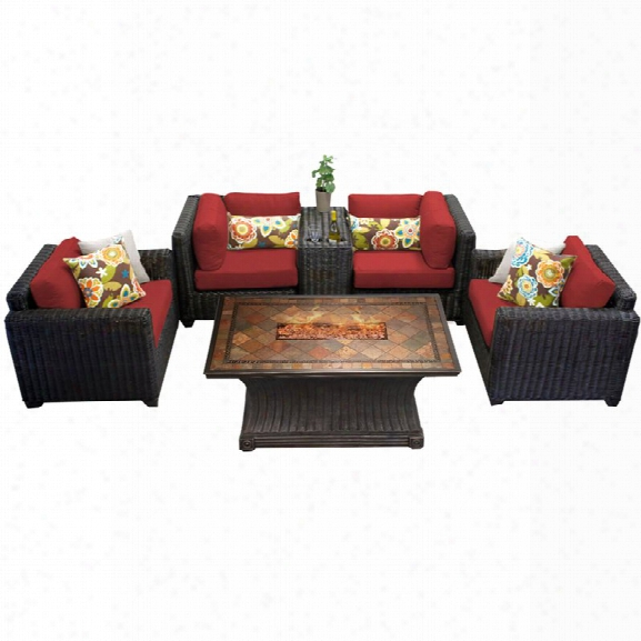 Tkc Venice 6 Piece Patio Wicker Fire Pit Sofa Set In Red