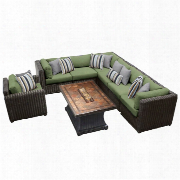 Tkc Venice 8 Piece Patio Wicker Fire Pit Sofa Set In Green