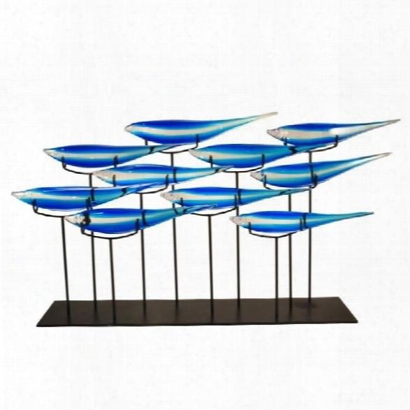 Dale Tiffany 10 Fish Blue Sculpture